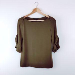 BANANA REPUBLIC | Deep Olive Green 3/4 Sleeve Top